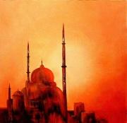 tableau autres mosquee coucher de soleil orient : La mosquée