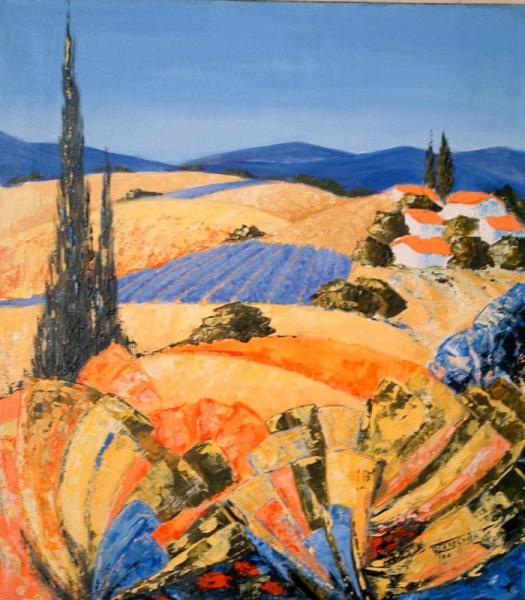 TABLEAU PEINTURE Provence Paysage provencal landscape Paysages  - Provence