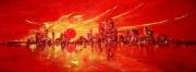 tableau abstrait soleil couchant ville peinture deco abstrait : Soleil rouge