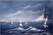 tableau marine mer bateaux phare bretagne : Marine