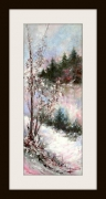 tableau paysages montagne neige sapins : Premieres neiges