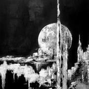 tableau abstrait pleine lune abstrait tokyo : Tokyo full moon
