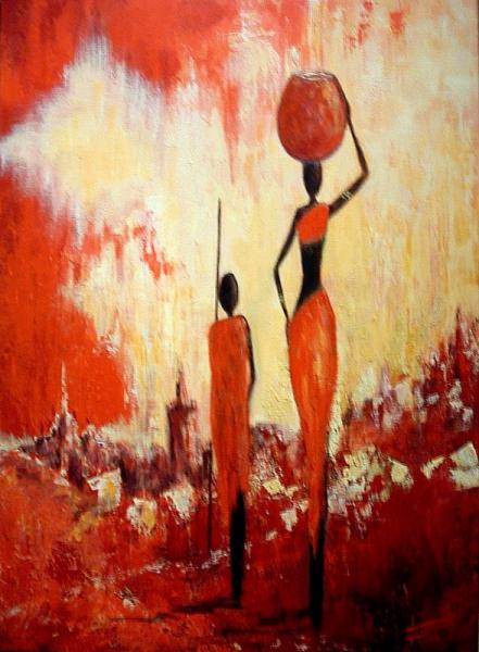 TABLEAU PEINTURE afrique femmes Africans women paint Scène de genre  - Afrique (2)