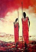 tableau personnages guerriers massaiafr : Afrique- 2