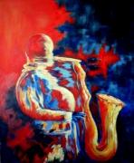 tableau scene de genre saxo fauvisme musique : Le saxophoniste