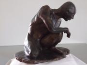 sculpture personnages homme nu attente : L'attente