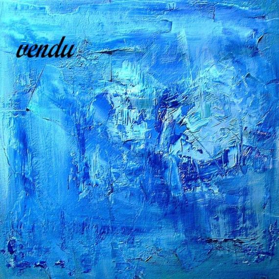 TABLEAU PEINTURE abstrait bleu marbré matière Abstrait  - BLEU
