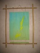 tableau abstrait oeuvre abstraite acrylique cadre bambou : Sans tritre