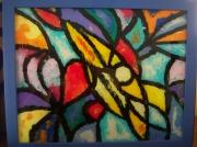 ceramique verre abstrait peinture acrylique verre couleur : Peinture sur verre 1