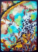 tableau abstrait couleur vie chaleur acrylique : OURS EN FONTE