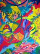 tableau abstrait espace couleur chaleur soleil : L'UNIVERS EN FETE