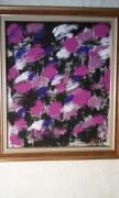 tableau abstrait peinture abstraite art contemporain : parapluies en ville