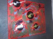 tableau abstrait peinture abstraite art contemporain : planètes en folie