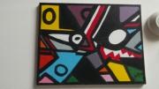 tableau abstrait art peinture couleurs abstrait : l,oiseau et le loup
