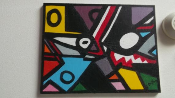 TABLEAU PEINTURE art peinture couleurs abstrait Abstrait Acrylique  - l,oiseau et le loup