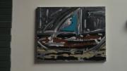 tableau marine art peinture marine couleurs : gris de tempête