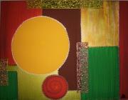 tableau abstrait jaune vert : Soleil d'automne