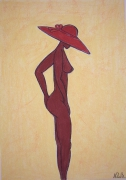 dessin nus : La Dame au chapeau
