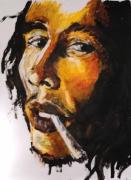 tableau personnages peinture portrait encre jaune : Bob