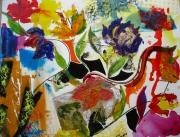tableau fleurs fleurs vases abstrait : Fleurs.......toujours