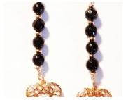 bijoux autres onyx gold filled : Boucles d'Oreilles  Boules en Onyx Facetté et Coeurs en Gol