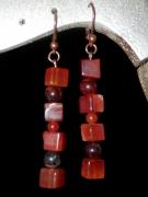 bijoux autres : Boucles d'Oreilles en Cornaline et Oeil de tigre Rouge