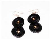 bijoux autres gold filled : Boucles d'Oreilles en Onyx et Gold Filled 18k