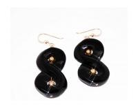 Boucles d'Oreilles en Onyx et Gold Filled 18k