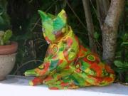 sculpture personnages sculpture chat grillage papier : Psyché le chat