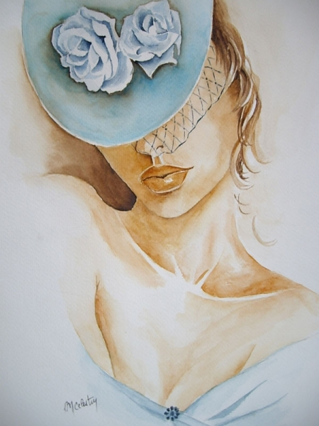 TABLEAU PEINTURE aquarelle femme aquarelle nue marie CELESTIN tableau aquarelle Nus Aquarelle  - Sophie