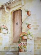 tableau fleurs aquarelle fleurs aquarelle maison provence aquarelle marie cele : Façade ancienne porte Provençale