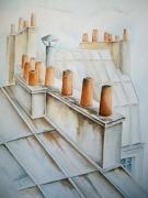 tableau paysages aquarelle paris aquarelles toits par toiture cheminee aquarelliste marie ,c : Toits et cheminées de PARIS