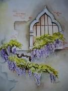 tableau fleurs aquarelle fleur aquarelle maison aquarelliste marie ,c aquarelle glycine : Glycines à Venise