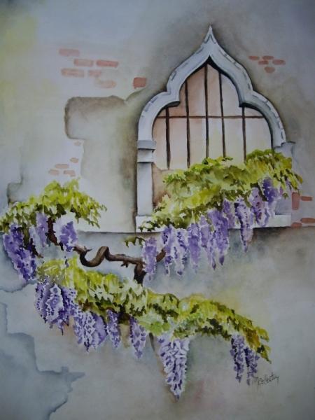 TABLEAU PEINTURE aquarelle fleur aquarelle maison aquarelliste marie C aquarelle glycine Fleurs Aquarelle  - Glycines à Venise