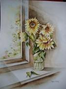 tableau fleurs aquarelle fleurs aquarelle tournesols aquarelle nature aquarelle paysage : Tournesols