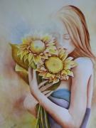 tableau personnages aquarelle fleur aquarelle personnage aquarelliste marie ,c aquarelle tournesols : Mademoiselle Tournesols