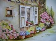 tableau fleurs aquarelle fleurs facade maison bretagne aquarelle marie cele : Façade Bretonne aux hortensias roses