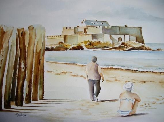 TABLEAU PEINTURE aquarelle saint malo aquarelle bretagne aquarelle paysage aquarelle mer Paysages Aquarelle  - Fort National de Saint Malo