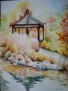 tableau paysages fleurs jardin japonais aquarelle soleil aquarelle fleurs : Aquarelle Jardin Japonais