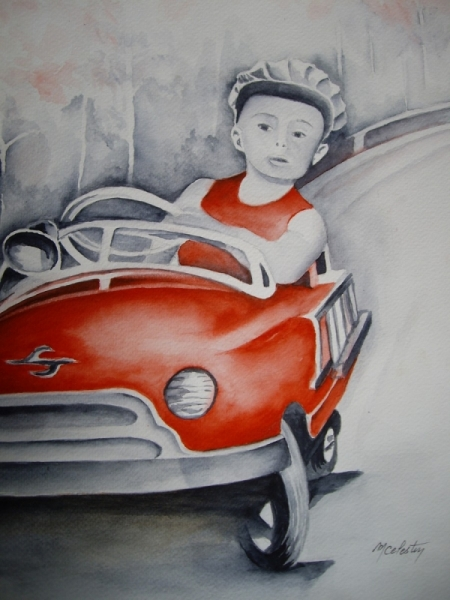 TABLEAU PEINTURE aquarelle voiture aquarelle enfant aquarelliste marie C aquarelle pilote Personnages Aquarelle  - Futur Pilote