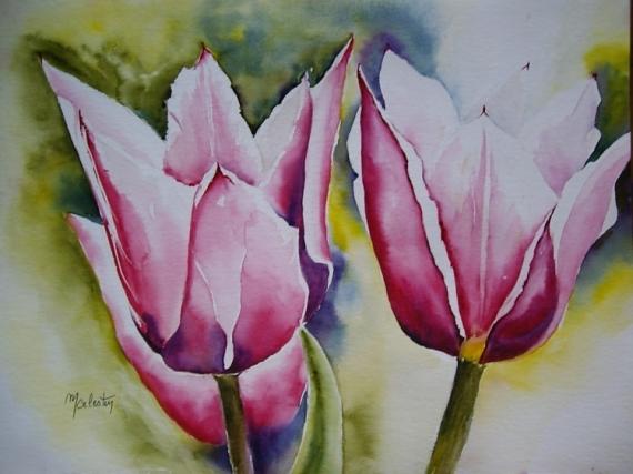 TABLEAU PEINTURE aquarelle fleurs aquarelle tulipe aquarelle paysage aquarelle nature Fleurs Aquarelle  - Tulipes
