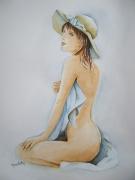 tableau nus aquarelle femme aquarelle nue tableau aquarelle femme chapeau : Ophélia