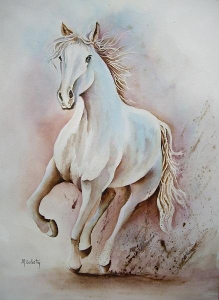 TABLEAU PEINTURE aquarelle cheval aquarelle chevaux aquarelle nature aquarelle paysage Animaux Aquarelle  - Cheval au galop