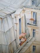 tableau architecture toits de paris aquarelle paris cheminees paris tableau aquarelle pa : Les toits de PARIS