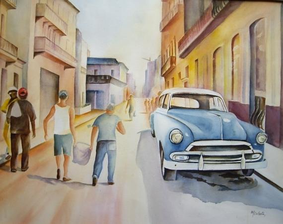 TABLEAU PEINTURE aquarelle personnage voiture ancienne voiture Cuba soleil voyage Personnages Aquarelle  - Tâche d'huile Cuba