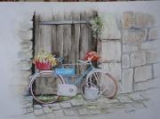 tableau nature morte velo bicyclette dinan rue : Vélo rue du Petit Fort à DINAN