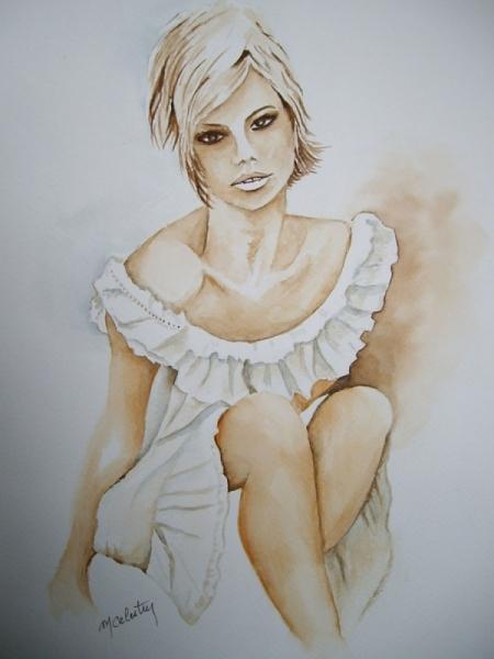 TABLEAU PEINTURE aquarelle femme, aquarelle nue tableau aquarelle peinture femme Nus Aquarelle  - Femme Léa