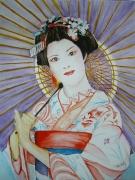 tableau nature morte geisha japon fleurs maquillage : Geisha avec son ombrelle