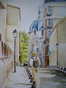 tableau paysages aquarelle paris aquarelle personnage aquarelliste marie ,c promeneur : La Butte aux cailles PARIS