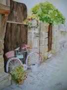 tableau nature morte rue dinan bicyclette velo vieille rue : Bicyclette rue du Petit Fort DINAN